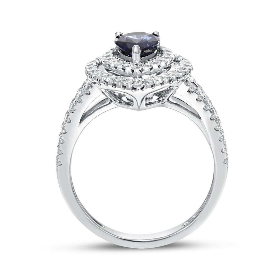 18K White Gold Sapphire and Diamond Ring, 1.82 Carats