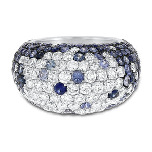 18K White Gold Diamond and Gemstone Ring, 6.84 Carats