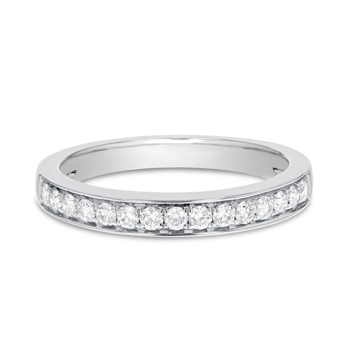 18K White Gold Diamond Wedding Band, 0.34 Carats