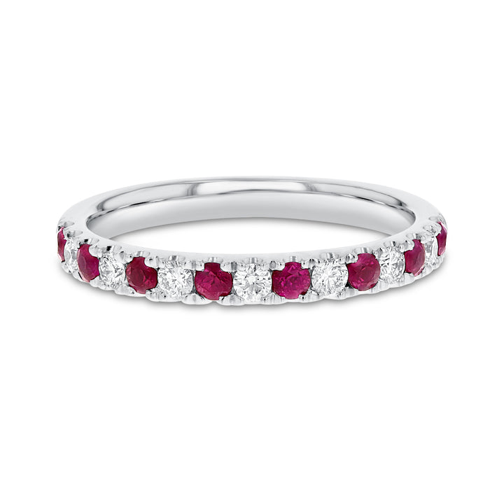 Alternating Diamond and Ruby Band in 18K White Gold, 0.58 Carats