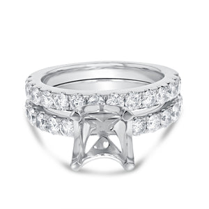 18K White Gold Wedding and Engagement Ring Set, 1.46 Carats
