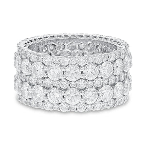 Diamond White Gold Multi Row Eternity Band, 7.32 Carats