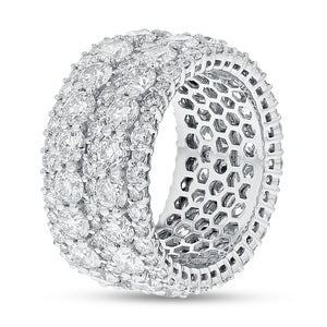 Diamond White Gold Multi Row Eternity Band, 7.32 Carats - R&R Jewelers