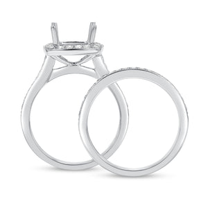18K White Gold Wedding and Engagement Ring Set, 0.59 Carats - R&R Jewelers