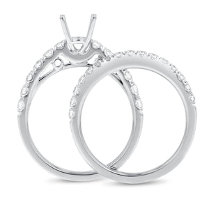 18K White Gold Wedding and Engagement Ring Set, 0.71 Carats - R&R Jewelers