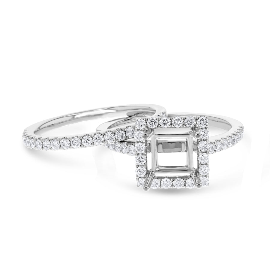 18K White Gold Wedding and Engagement Ring Set, 0.77 Carats - R&R Jewelers
