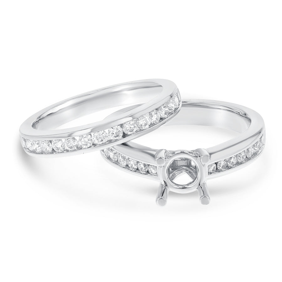 18K White Gold Wedding and Engagement Ring Set, 0.78 Carats - R&R Jewelers