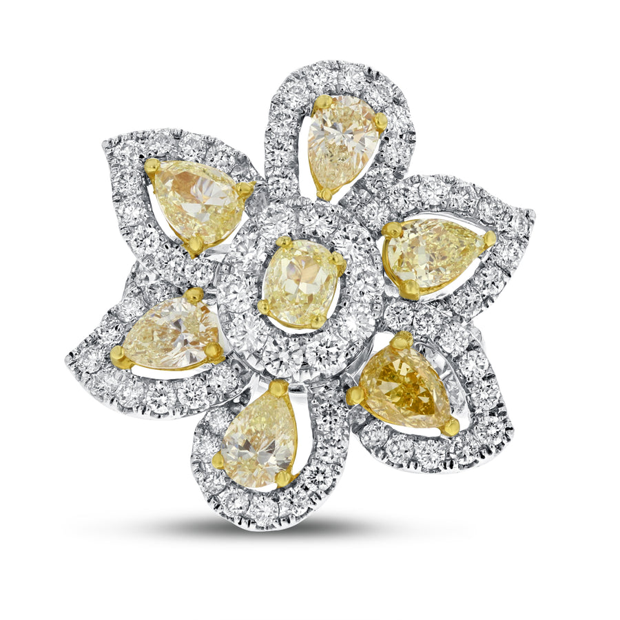 Yellow Diamond Floral Ring - R&R Jewelers