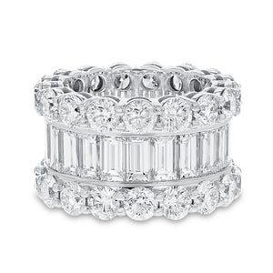 Diamond White Gold 3 Row Eternity Band, 15.47 Carats
