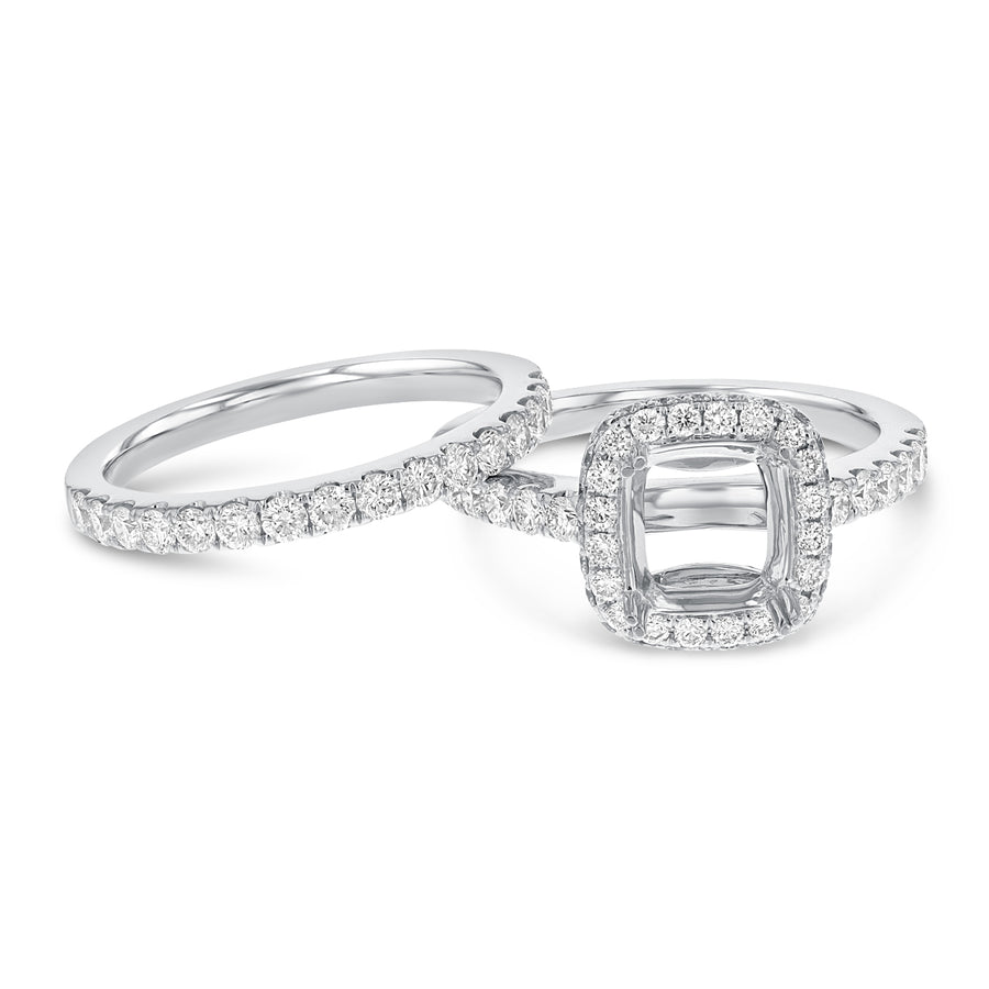 18K White Gold Wedding and Engagement Ring Set, 1.23 Carats - R&R Jewelers