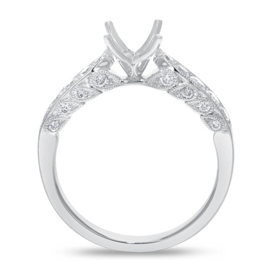 18K White Gold Semi-mount Ring, 0.53 Carats - R&R Jewelers