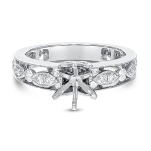 Art Deco Diamond Semi Mount Ring - R&R Jewelers