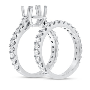 18K White Gold Wedding and Engagement Ring Set, 1.72 Carats - R&R Jewelers