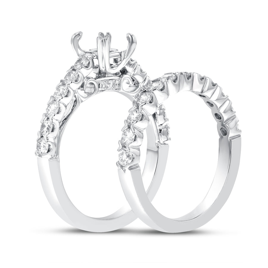 18K White Gold Wedding and Engagement Ring Set, 1.39 Carats