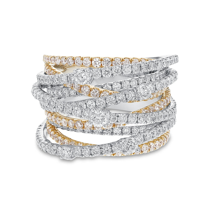 Multi Row Diamond Crossover Ring - R&R Jewelers