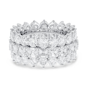 Diamond White Gold 3 Row Eternity Band, 11.80 Carats