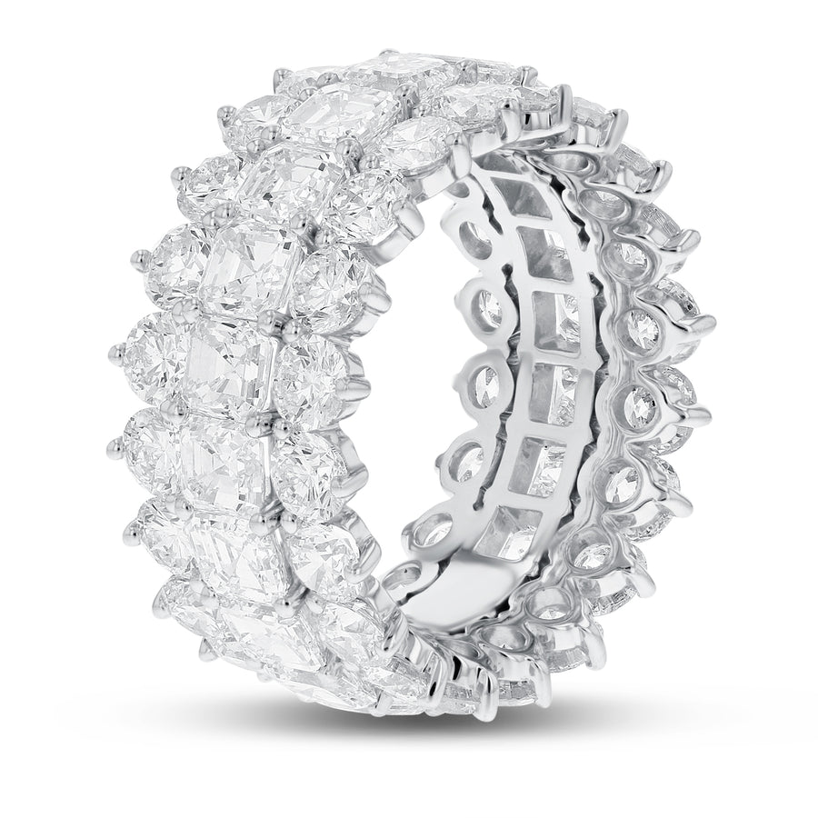 Diamond White Gold 3 Row Eternity Band, 11.80 Carats - R&R Jewelers