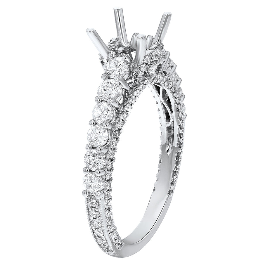 14K White Gold Semi-mount Ring, 1.07 Carats