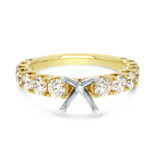 14K Two Tone Gold Semi-mount Ring, 1.59 Carats