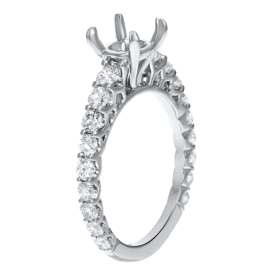 18K White Gold Semi-mount Ring, 1.03 Carats - R&R Jewelers
