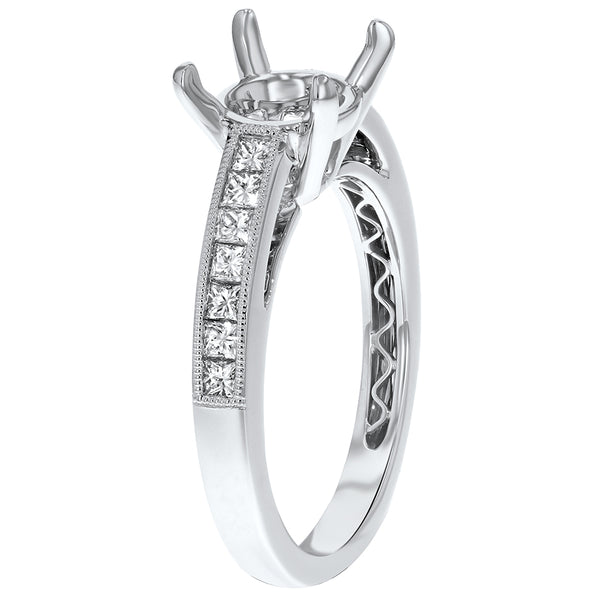 18K White Gold Semi-mount Ring, 0.43 Carats