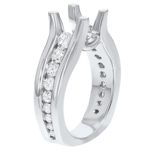 18K White Gold Semi-mount Ring, 1.01 Carats