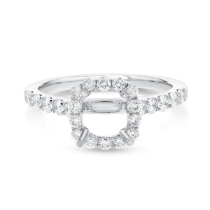 18K White Gold Semi-mount Ring, 0.67 Carats