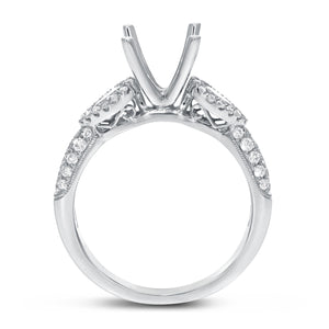 18K White Gold Semi-mount Ring, 0.74 Carats