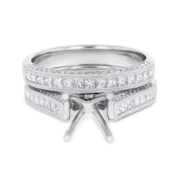 18K White Gold Wedding and Engagement Ring Set, 1.11 Carats