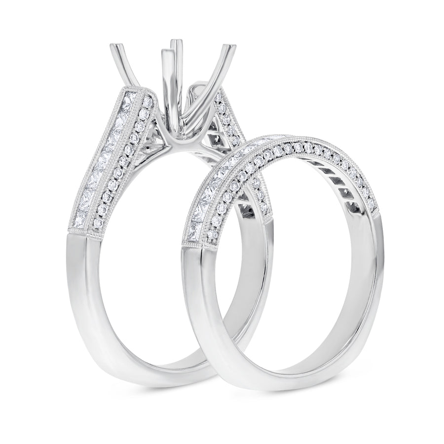 18K White Gold Wedding and Engagement Ring Set, 1.11 Carats - R&R Jewelers