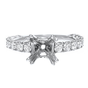 18K White Gold Semi-mount Ring, 1.24 Carats