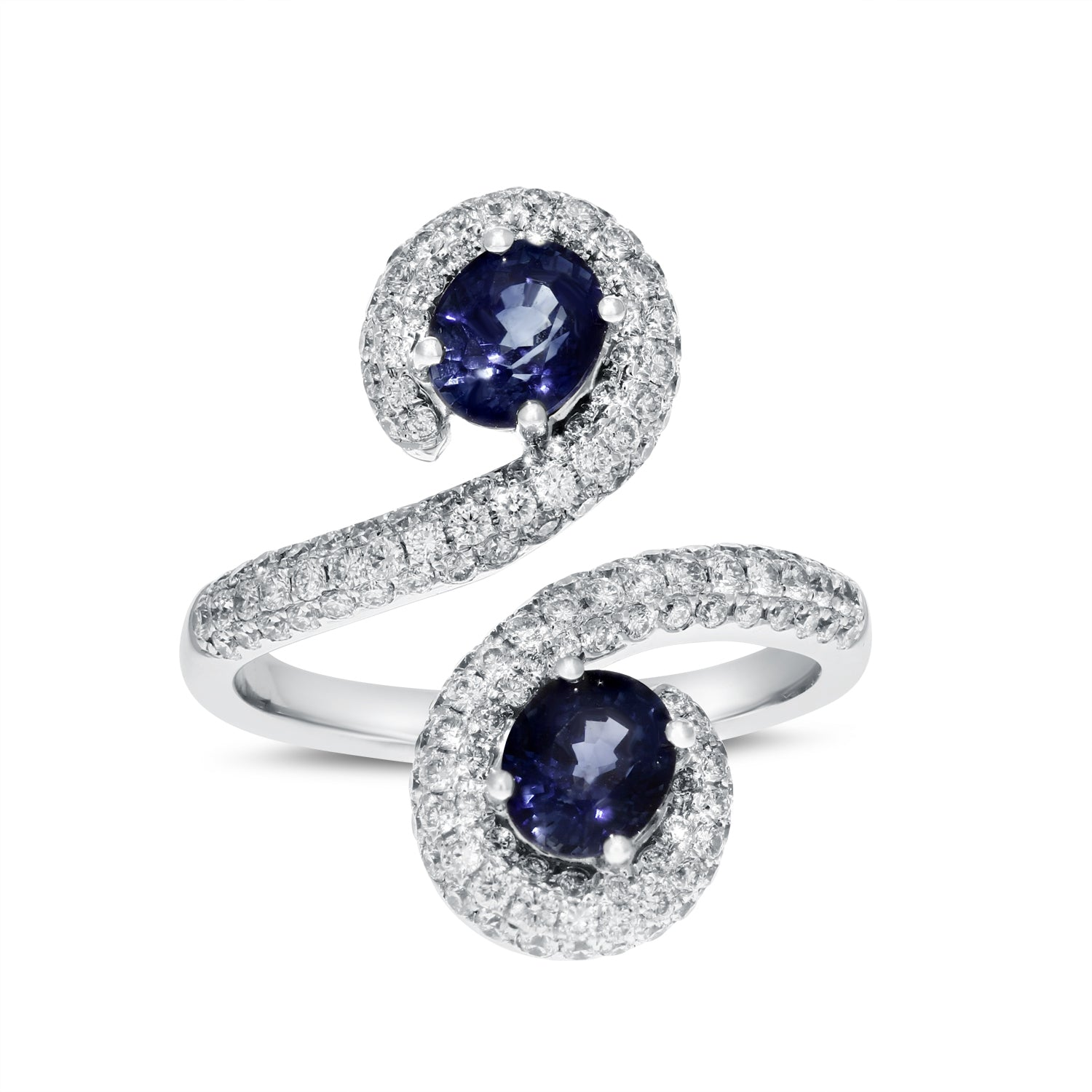 18K White Gold Diamond and Gemstone Ring, 3.40 Carats