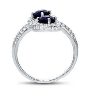 18K White Gold Sapphire and Diamond Ring, 3.40 Carats
