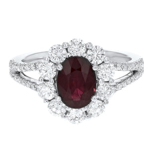 18K White Gold Diamond and Gemstone Ring, 2.51 Carats
