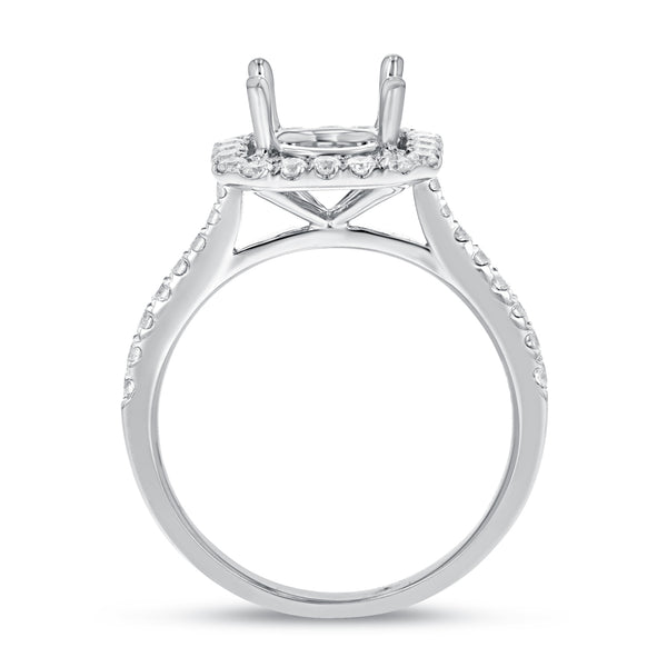 18K White Gold Semi-mount Ring, 0.56 Carats