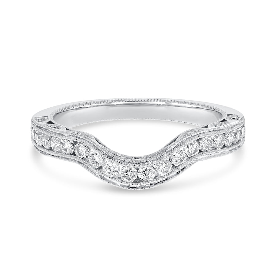 Curved Channel Set Diamond Wedding Band - R&R Jewelers