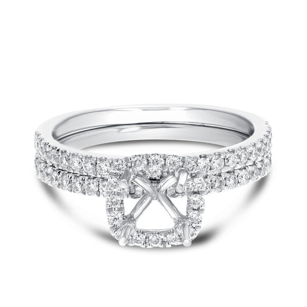 18K White Gold Wedding and Engagement Ring Set, 0.60 Carats