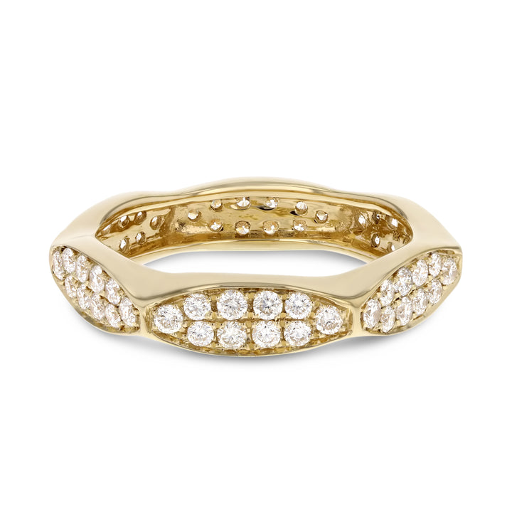 Diamond Yellow Gold Eternity Band, 0.93 Carats