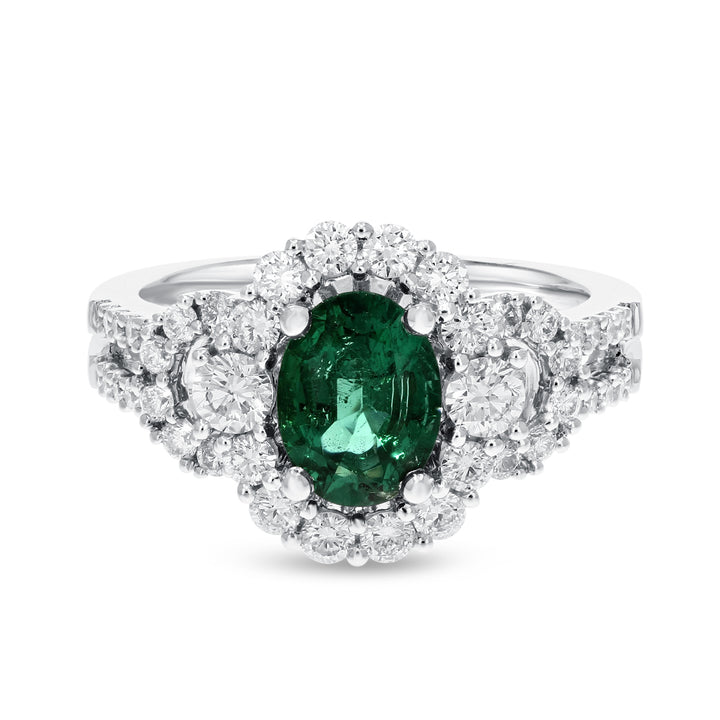 18K White Gold Diamond and Gemstone Ring, 2.01 Carats