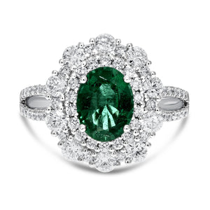 18K White Gold Diamond and Gemstone Ring, 2.71 Carats