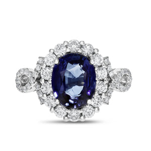 18K White Gold Diamond and Sapphire Ring, 3.49 Carats