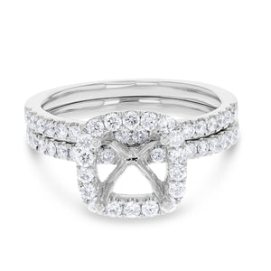 18K White Gold Wedding and Engagement Ring Set, 0.80 Carats