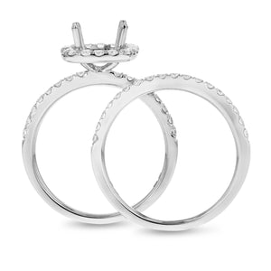 18K White Gold Wedding and Engagement Ring Set, 0.80 Carats - R&R Jewelers