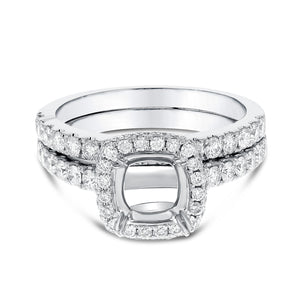 18K White Gold Wedding and Engagement Ring Set, 1.12 Carats