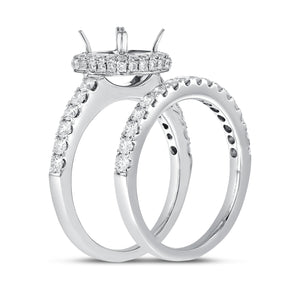 18K White Gold Wedding and Engagement Ring Set, 1.12 Carats - R&R Jewelers