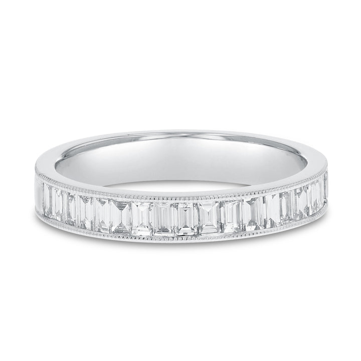 Channel Set Baguette Diamond Band in 18K White Gold, 0.64 Carats
