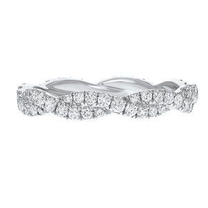 Diamond White Gold Petite Twist Eternity Band, 0.80 Carats