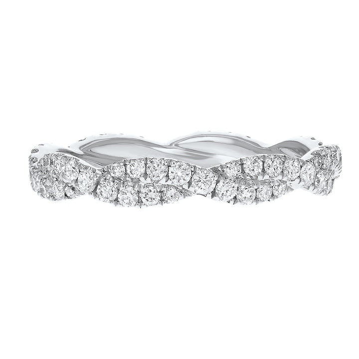 Diamond White Gold Petite Twist Eternity Band, 0.80 Carats - R&R Jewelers