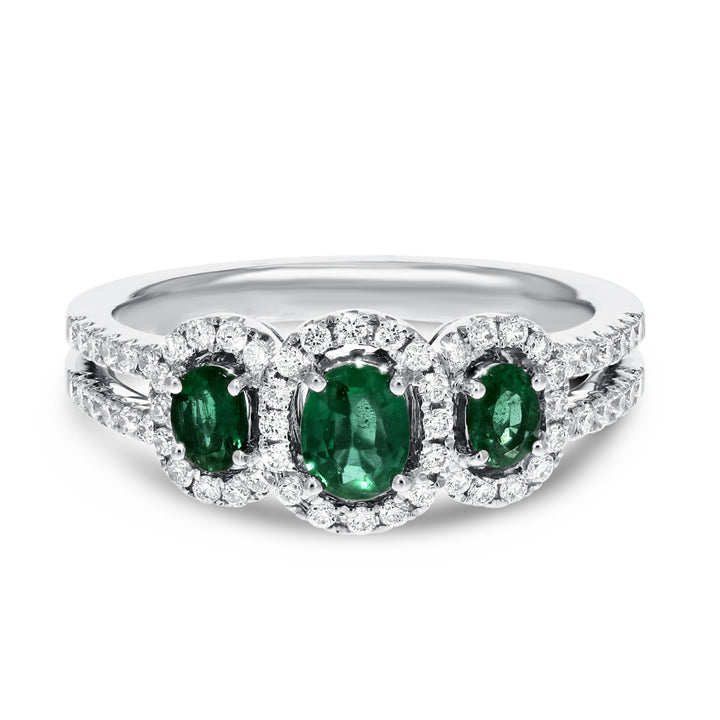 Three Stone Emerald and Diamond Ring - R&R Jewelers