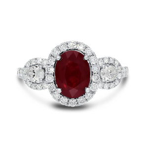 18K White Gold Diamond and Gemstone Ring, 3.07 Carats